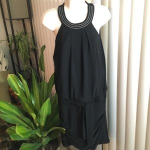 WHBM Black Slit Back Sleeveless LB Dress Small